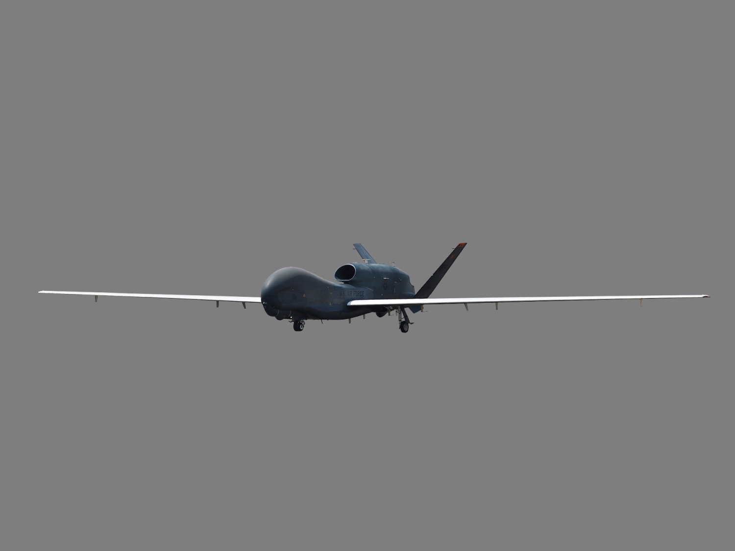 US Air Force RQ-4 Global Hawk unmanned aircraft, US Air Force image, graphic element on gray