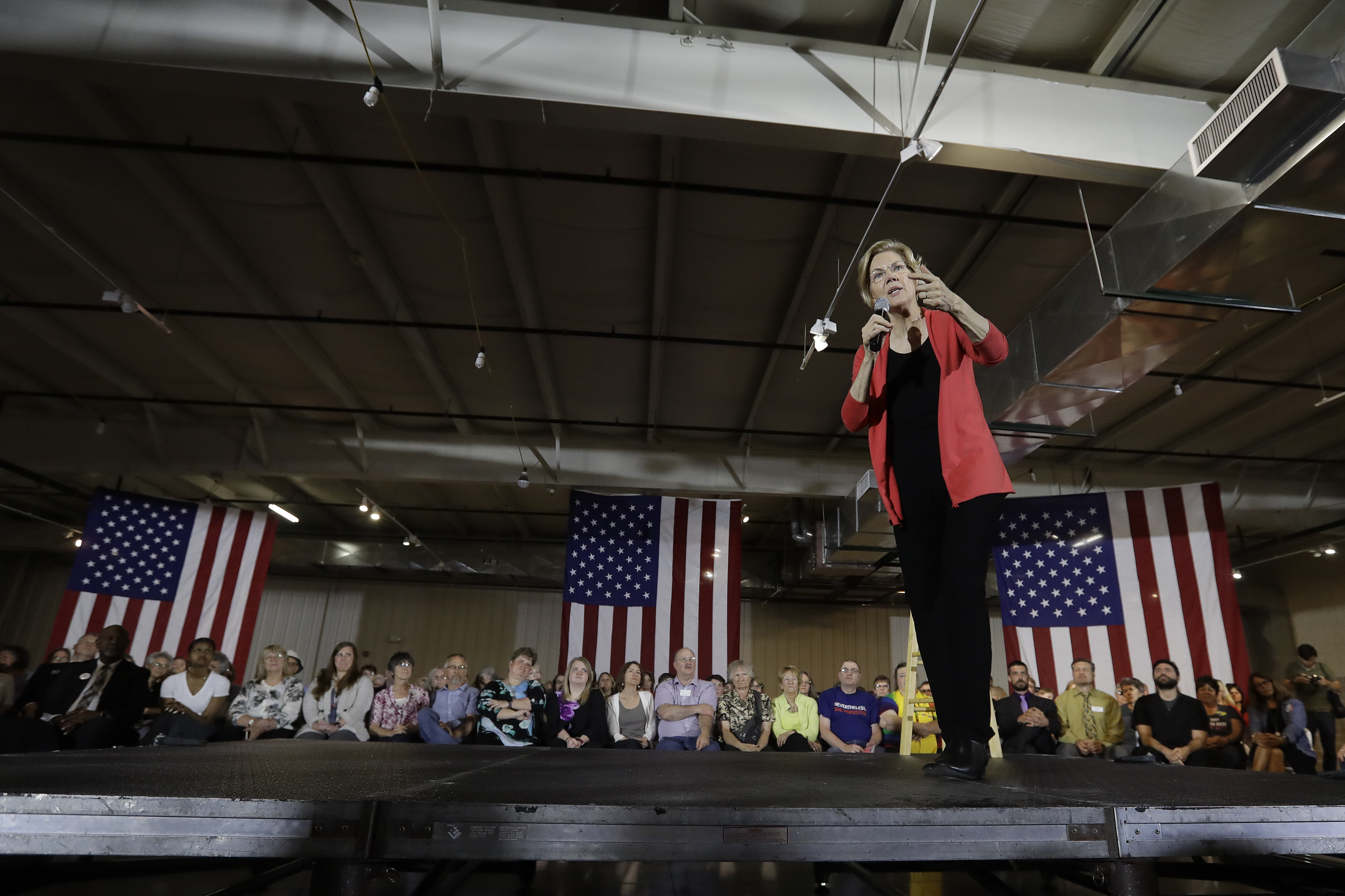 Democratic presidential candidate Sen. Elizabeth Warren, D-Mass., speaks at the RV/MH Hall of Fame and Museum, June 5, 2019, in Elkhart, Indiana.