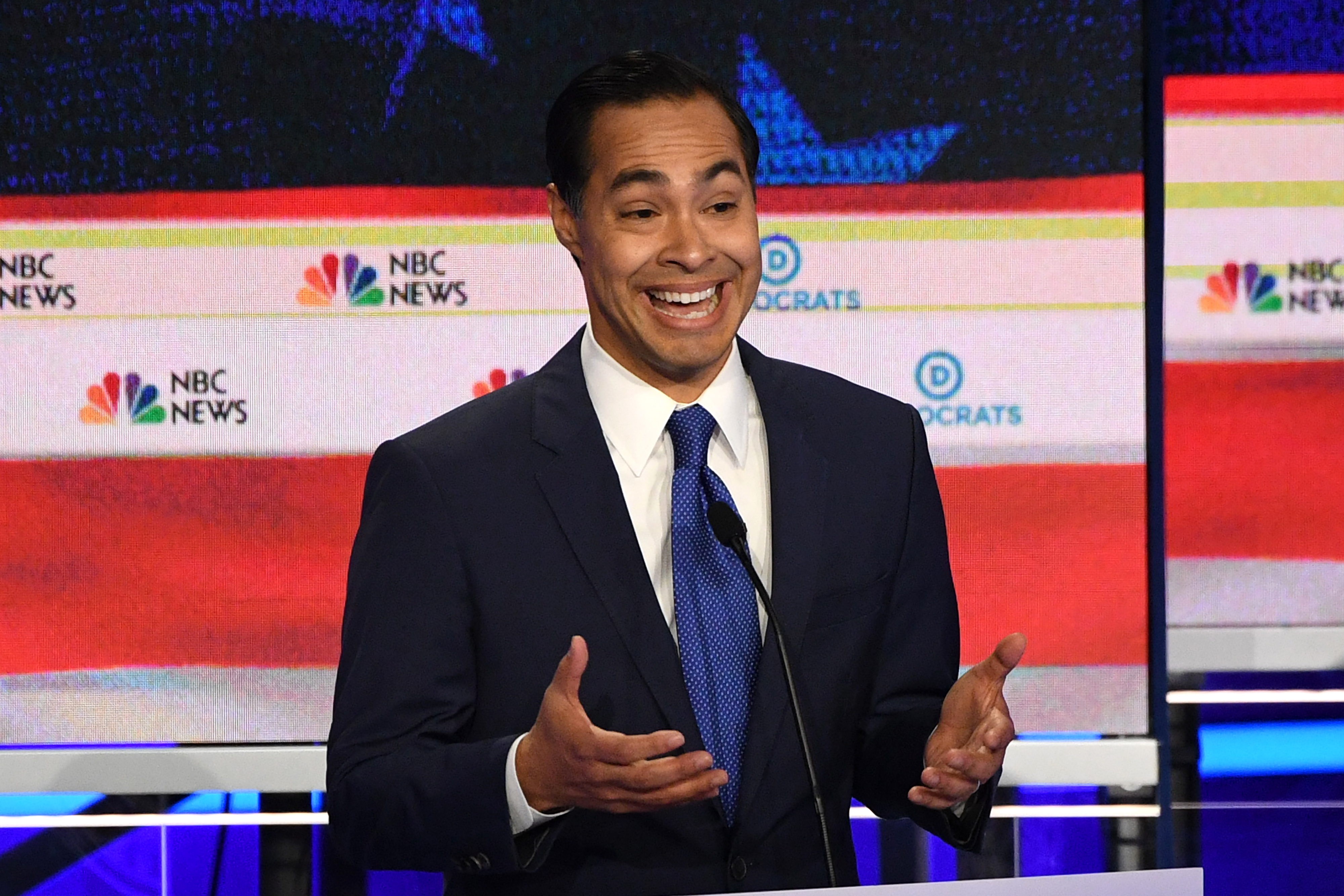 Democratic presidential hopeful former U.S. Secretary of Housing and Urban Development Julian Castro participates in the first Democratic primary debate of the 2020 presidential campaign at the Adrienne Arsht Center for the Performing Arts in Miami,  June 26, 2019.