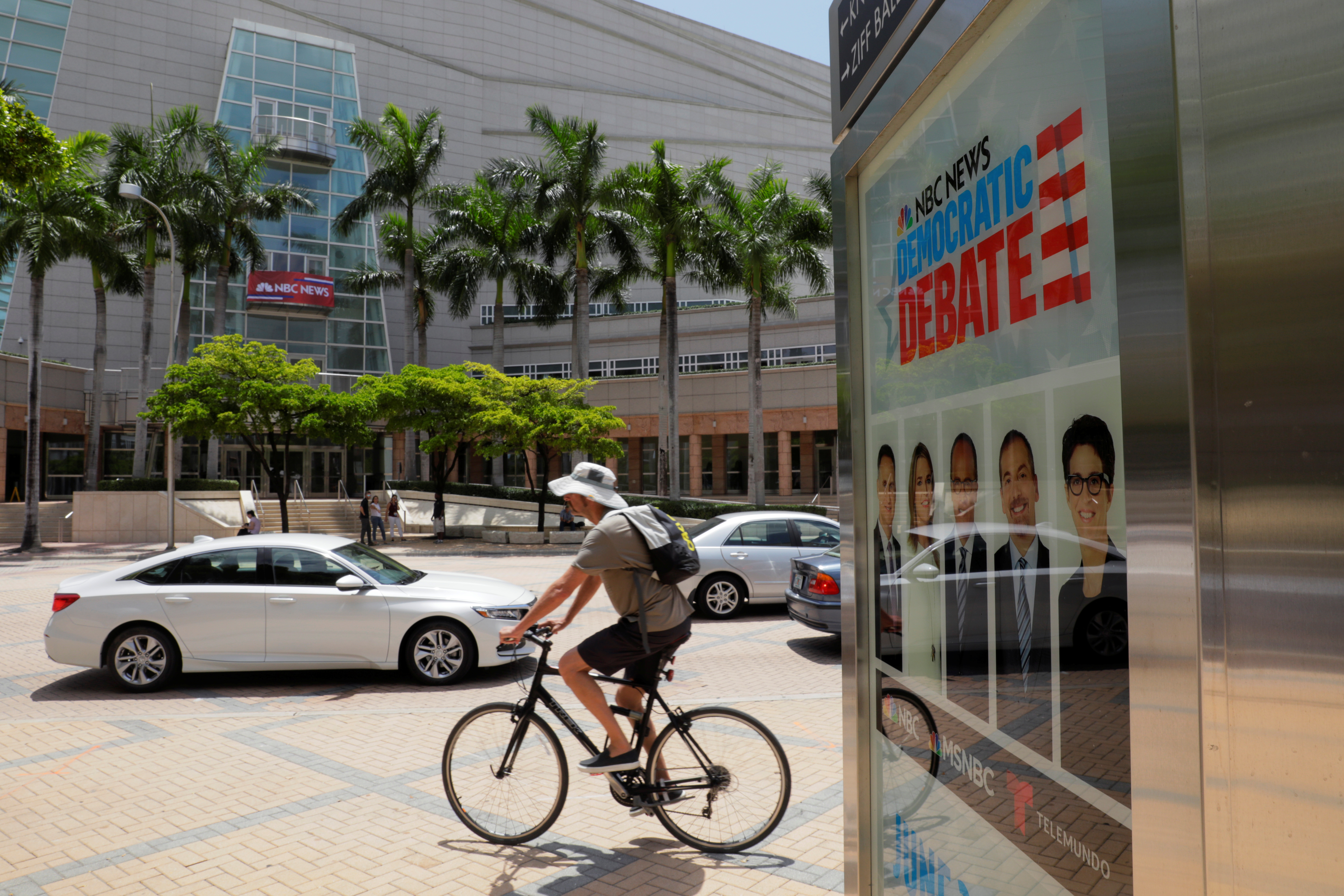 Traffic moves past Miami's Adrienne Arsht Performing Arts Center the day before 20 Democratic U.S. presidential candidates begin a two night debate that will be the first debate of the 2020 U.S. presidential election in Miami.